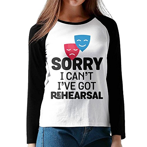 Women's I Can't I Have Rehearsal Drama Masks Comfy Long-Sleeve T-Shirt Basic - Round Face Do A Have I