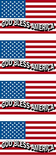 American Flag, God Bless America, 4 Pack, Patriotic, Hard Ha