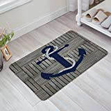 Unique Gray Plaid Wood Blue Anchors Marine Artistic Non-Skid Slip Rubber Entrance Mats Rugs Indoor/Outdoor/Front Door/Bathroom/Kitchen/Bedroom 18x30inch