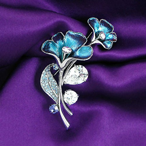 Glamorousky Purplish Blue Flower Brooch with Blue, Purple Austrian Element Crystals and Silver CZ (4949)
