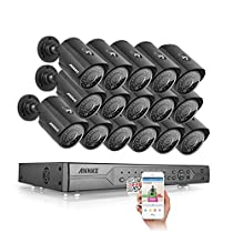 ANNKE Security 32CH 720P DVR Security Camera System with 16 x HD 1280TVL IP66 Metal Weatherproof Surveillance Camera, 100ft Night Vision, Motion Detection, Remote Playback, No HDD Included