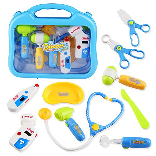 Doctor Kit Pretend Toy Role Play Sets with Medical Case for Kids Toddlers Boys Girls 3 4 5 Years Old,10 Pcs -