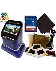 "$189 » Wolverine F2D Saturn Digital Film & Slide Scanner - Converts 120 Medium Format, 127 Film, Microfiche, 35mm Negatives & Slides to Digital - 4.3"" LCD, 16GB SD Card, Z-Cloth & HDMI Cable Included (Blue)"