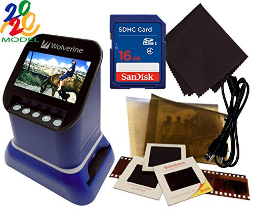 New Wolverine F2D Saturn Digital Film & Slide Scanner – Converts 120 Medium Format, 127 Film, Microfiche, 35mm Negatives & Slides to Digital – 4.3″ LCD, 16GB SD Card, Z-Cloth & HDMI Cable Included (Blue)