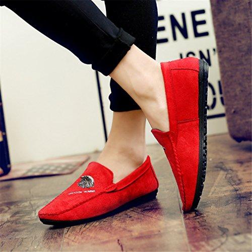 Slip hombres casuales cuero gamuza a los de Zapatos mano los hechos transpirables de Mocasines hombres y Red Zapatos On de Moccasins suaves de de moda f1PWnnwTqx