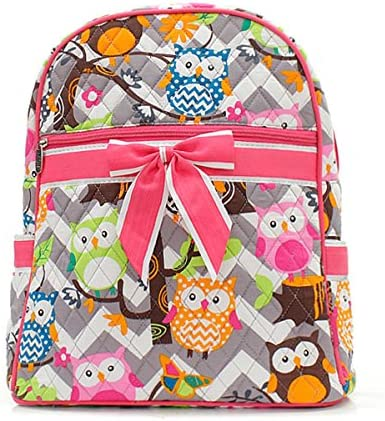 Owl Chevron Stripe Small Quilted Backpack