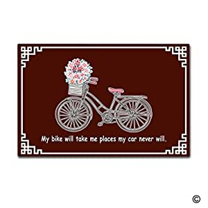 msmr Felpudo entrada Felpudo–Felpudo mi bicicleta Will Take Me lugares mi coche nunca se. Felpudo decorativo para interiores Felpudo non-woven fabric top 23.6pulgadas por 15,7pulgadas
