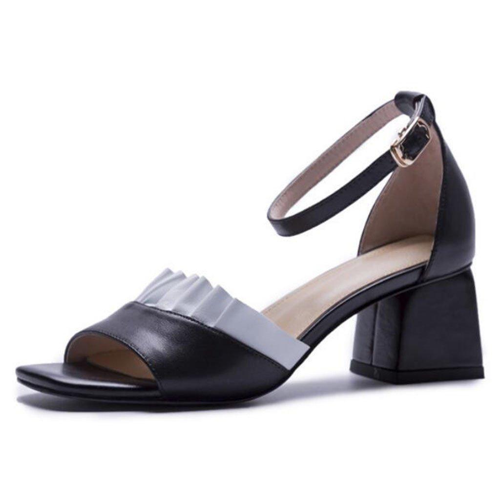 GAOLIXIA Sandalias de punta abierta de las sandalias de dedo del pie de las mujeres del cuero genuino Bombas del tobillo de la correa del tobillo del cordón dulce del verano Zapatos casuales ( Color : Negro , tamaño : 38 ) 38|Negro