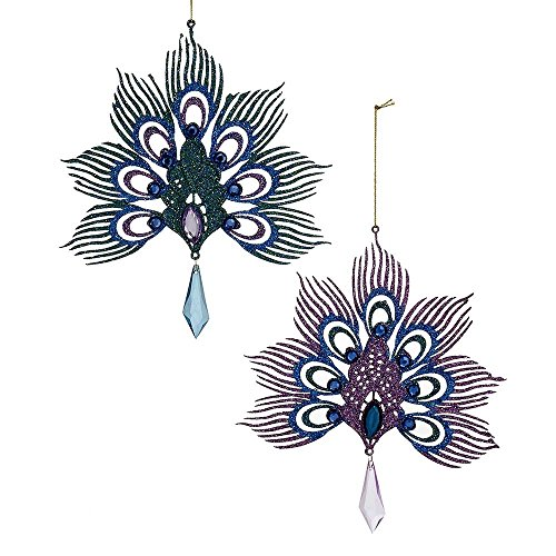 Kurt Adler YAMD2854 Peacock Ornament Set of 2