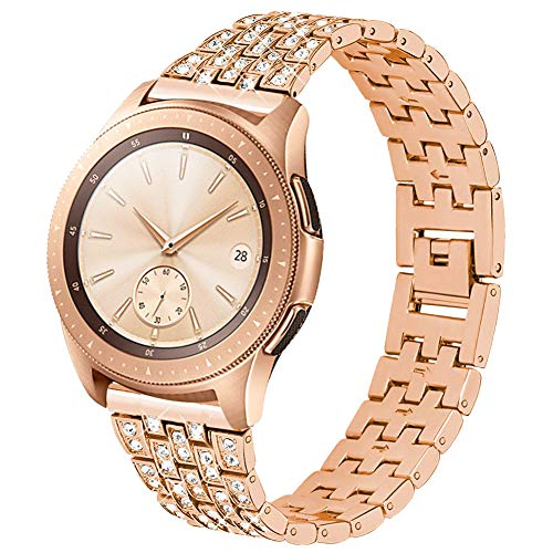 Maxjoy Compatible Galaxy Watch 42mm Bands Women, Galaxy Watch Active Band Metal Replacement Strap 20mm Diamond Rhinestone Bracelet Compatible with ...