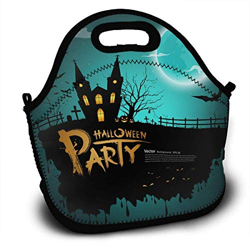 Insulated Neoprene Lunch Bag Removable Shoulder Strap Reusable Thermal Lunch Tote Bags For Adults,Teens,Boys,Girls,Kids,Baby-Lunch Boxes For Outdoor,Office,School - Halloween Party Greeting