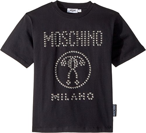 Moschino Kids Boy's Short Sleeve Stud Logo T-Shirt (Big Kids) Black 10 by Moschino Kids