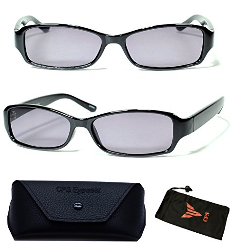 (#FR6109 Blk) 1 Pair Men & Women Casual Style Frame Plastic Sun Reader Reading Glasses And Sunglasses Eyewear for Outdoor + Cleaning Cloth (Strength: +1.25 - 1.25 Strength Sunglasses