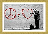 Alonline Art - Peace Love Doctor Banksy Gold FRAMED POSTER (Print on 100% Cotton CANVAS on foam board) - READY TO HANG | 27''x19'' | Oil Paintings Prints Wall Art Pictures Frame Framed Wall Art