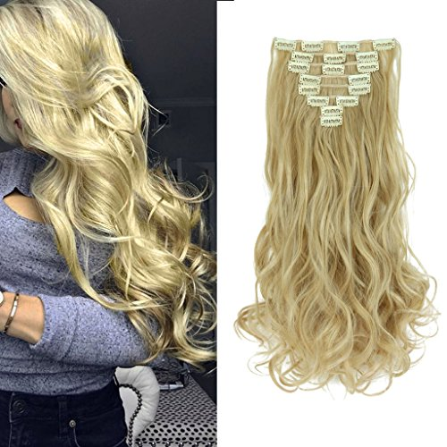 8Pcs 18 Clips 17-26 Inch Curly Straight Full Head Clip in on Hair Extensions Women Lady Hairpiece,Ash Blonde Mix Bleach Blone#1,24 Inch-Curly by DODOING (Image #3)
