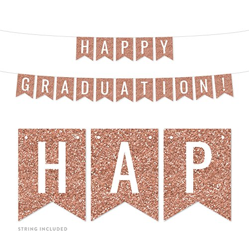Andaz Press Rose Gold Faux Glitter Background Party Banner Decorations, Happy Graduation!, Approx 5-Feet, 1-Set, Champagne Colored Hanging Pennant Decor ()