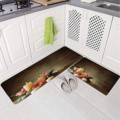 (2 Piece Non-Slip Kitchen Mat Rug Set Doormat 3D Print,Many Candles Wellbeing Unity and Neutrality Icons,Bedroom Living Room Coffee Table Household Skin Care Carpet Window Mat,)