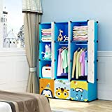 MAGINELS Magicial Panels Kids Dresser Portable Closet Wardrobe Children Bedroom Armoire Clothes Hanging Storage Rack Cube Organizer, Large & Study, Blue, 8 Cubes & 2 Hanging Sections