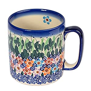 Traditional Polish Pottery, Handcrafted Ceramic Roller Mug (400 ml), Boleslawiec Style Pattern, Q.201.DAISY