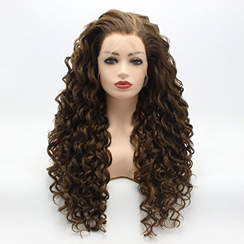 Meiyite Hair Curly Long 26inch Brown and Honey Blonde Mix Soft Synthetic Lace Front Wigs ()