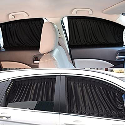 Yosoo Car Window Curtain, 2 x 50s Car Interior Sun Shade Window Curtain Adjustable Windshield SunShade Drape Visor Valance Curtain Universal Car Curtains Fit For Cars Trucks Black