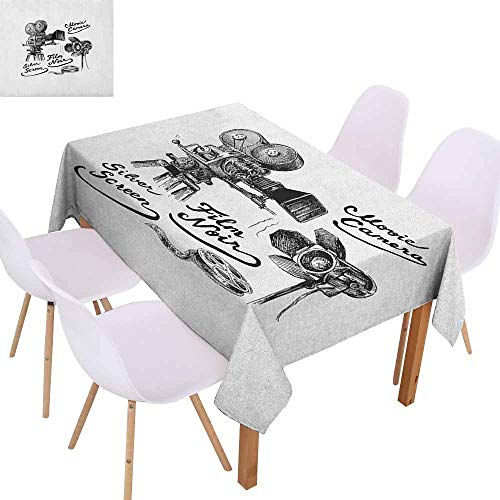 Marilec Easy Care Tablecloth Movie Theater Cinematography Themed Artwork with Old Camera and Equipment Silver Screen Soft and Smooth Surface W59 xL71 Black White
