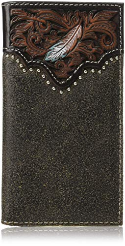 Ariat Men's Painted Feather Nailhead Rodeo Wallet, tan
