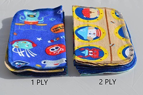 2 Ply Printed Flannel Washable. Pirates and Pals Fun Ocean Adventure- Set Napkins 8x8 inches 5 Pack - Little Wipes (R) Flannel by Gina's Soft Cloth Shop (Image #3)