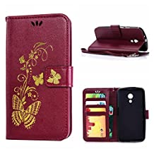 MOONCASE Moto G (2nd Gen) Case, Bronzing Butterfly Pu Leather Wallet Pouch Etui Flip Kickstand Case Cover for Motorola Moto G (2nd Generation) Bookstyle Folio [Shock Absorbent] TPU Case with Photo Frame Burgundy