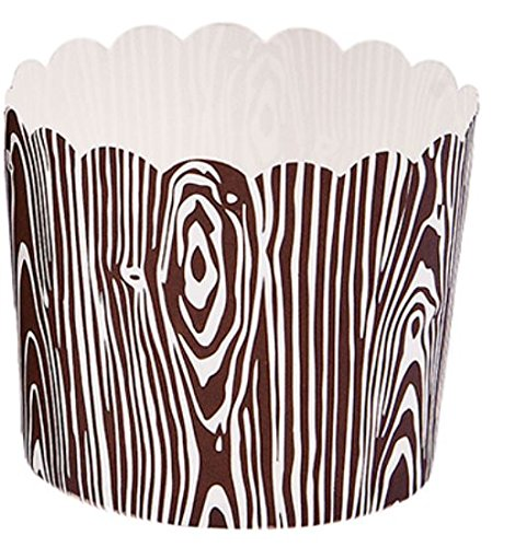 Simply Baked Large Paper Baking Cup, Brown Wood Grain, 500-Pack, Disposable & Oven-safe by Simply Baked (Image #1)