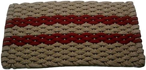 Rockport Rope Doormats 2034359 Indoor Outdoor Doormats, 20 by 34 , Tan with 2 Rose Stripes