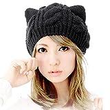 Susenstone women hat,Cat Ears Hemp Flowers Knitted Hat