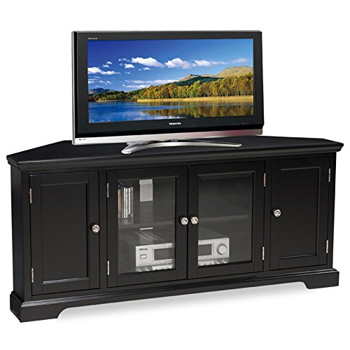 Leick Black Hardwood Corner TV Stand, 56-Inch