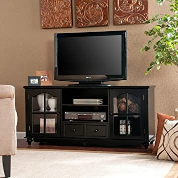 hanover black modern center tv stand media center storage cabinet with doors up to 50