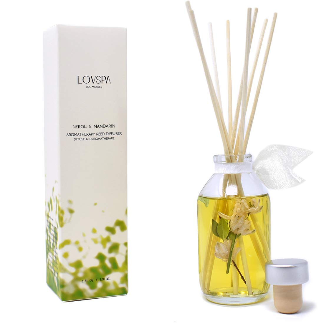 LOVSPA Neroli & Mandarin Reed Diffuser Set - Home Fragrance Made with Essential Oils & Natural Botanicals - Orange Blossom, Lemon, Iris & Petitgrain l Home Decor & Housewarming Gift Idea by LOVSPA (Image #1)