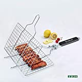 HANTERE Barbecue Grill Basket Stainless Steel Barbecue Net Folding Grilled Net Grill Square Grilled Fish Chicken Net Outdoor Detachable