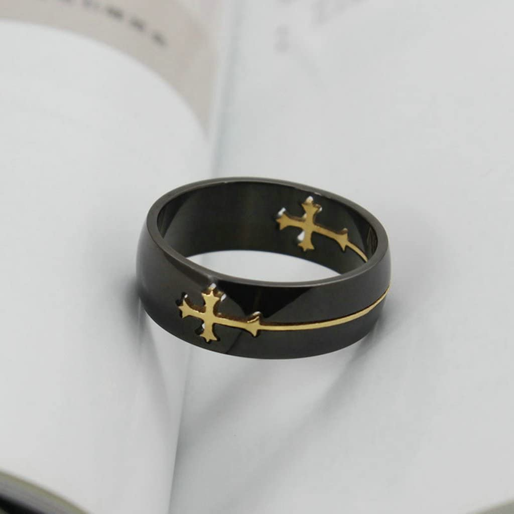 Bishilin Stainless Steel Two Tone Black and Gold Separable Cross Wedding Rings for Men