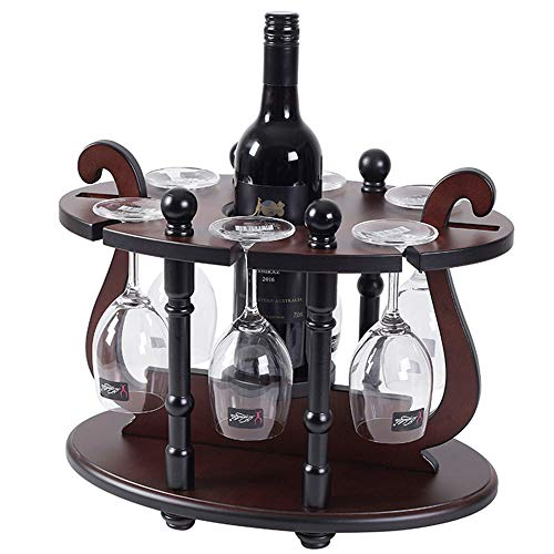 GEPFD-WINRK Wine Glass Holder,Round Ding Wine Rack,Solid Wood Creative Wine Display Stand with 6 Glass Rack & 1 Bottle Holder for Bar Wine Cellar Wine Cooler Etc(40x26x32cm)