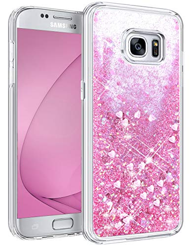 HianDier Case for Galaxy S7 Case Waterfall Glitter Flowing Liquid Quicksand Case Lightweight Bling Cute Love Heart Girls Women Protective Clear Cover Cases for Galaxy S7, Pink