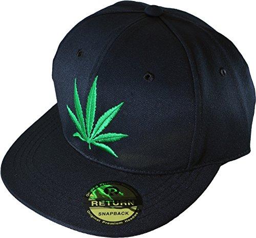 Marijuana Weed Leaf Hip Hop Hat Flex Fit Flat Bill Snapback Black Cap (MARIJUANA-CAP) (Yankees Starter Jacket compare prices)