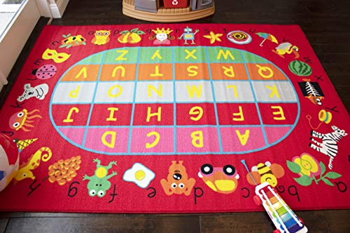 LA Dancing Party Tone Happy Tone Animation Animals Fruit Figures Alphabet Game Line 8-Feet-by-10-Feet Polyester Made All Boys Girls Area Rug Carpet Rug - Fun Rugs Rugby