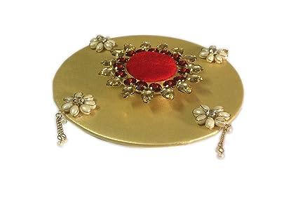 Buy Loops N Knots Red Golden Wedding Engagement Ring Platter