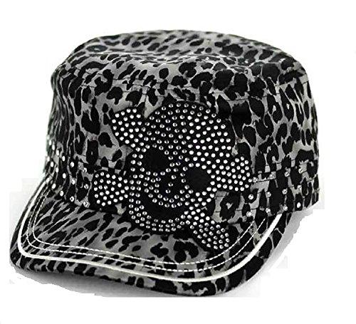 (K&B Adjustable Rhinestone Sugar Skull Cadet Cap Hat Black (Black Cheetah))