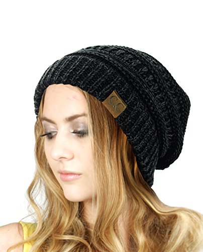 NYFASHION101 Unisex Multicolor Warm Cable Knit Thick Slouch Beanie Cap, Black/Gray