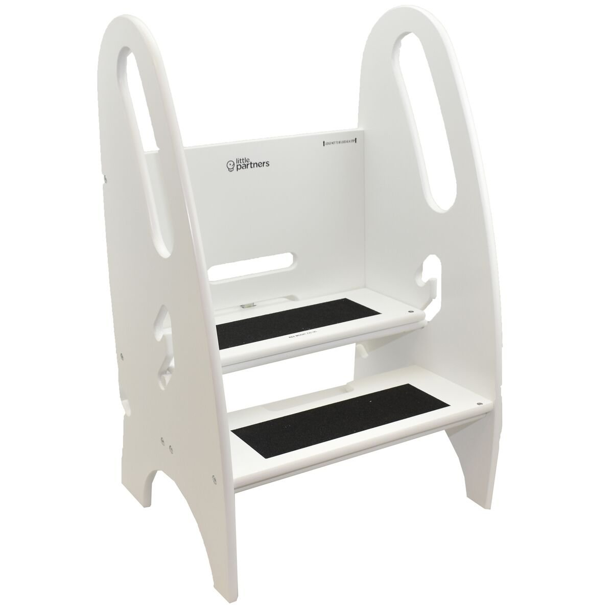 The Growing Step Stool by Little Partners (Soft White) – Adjustable Height Nursery, Kitchen or Bathroom Kids Footstool – Wooden Non-Tip Design for Both Toddlers & Adults (Supports Up To 250lbs)