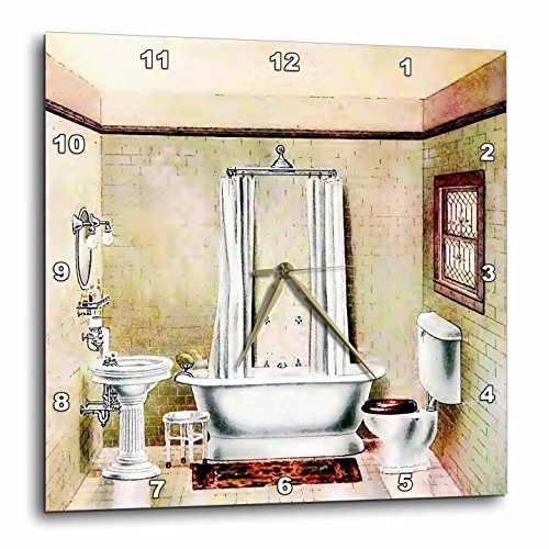 (3dRose dpp_62536_1 Picture of Painting of a Victorian Bathroom Wall Clock, 10 by 10-Inch)