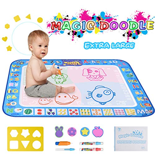 Water Doodle Mat,Extra Large Kid Magic Aqua Drawing Pad,Painting Board with 3 Pens,1 Magic Brush Accessories,Educational Toys Gifts for Boys Girls Toddlers 2 3 4 5 6 7 + Year Old Size 38.5X 29.5