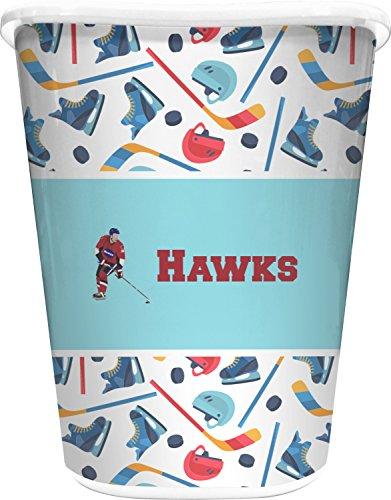 RNK Shops Hockey 2 Waste Basket - Single Sided (White) (Personalized Wastebasket)