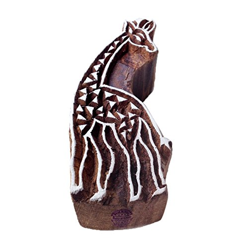 Intricate Giraffe Animal Motif Wooden Stamp for Printing - DIY Henna Fabric Textile Paper Clay Pottery Block Printing Stamp