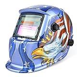 Solar Powered Welding Helmet Auto Darkening Professional Hood with Wide Lens Adjustable Shade Range 4/9-13 for Mig Tig Arc Weld Grinding Welder Mask
